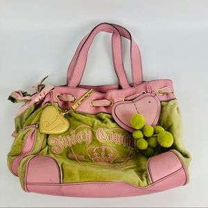Juicy Couture shop purse tote green pink